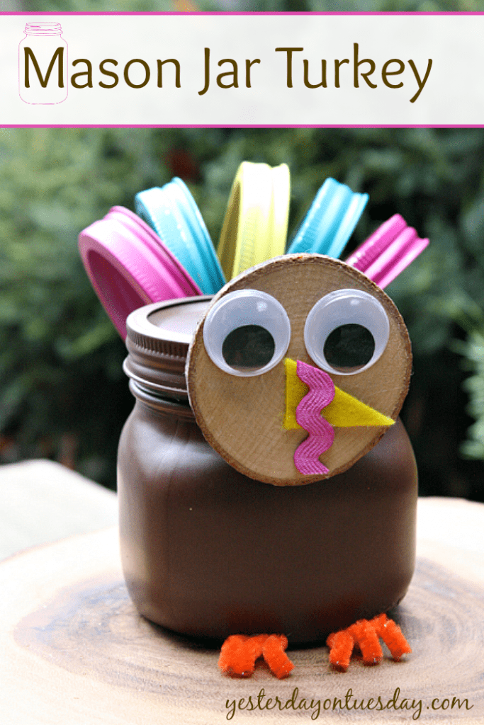 DIY mason jar turkey for kids (via yesterdayontuesday.com)