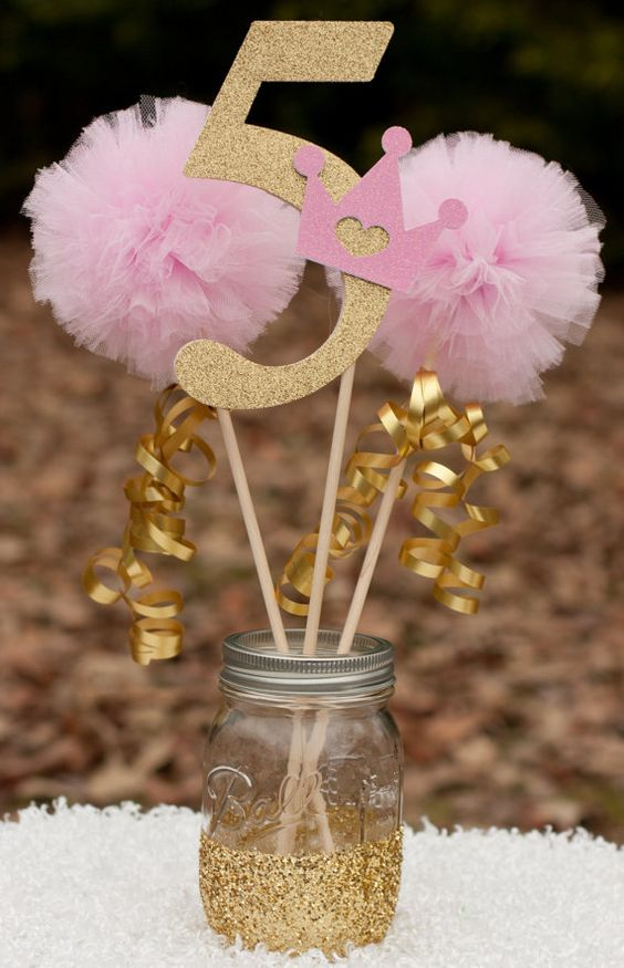1 number stick made from glittery card stock and adorned & 30 Cute And Pretty Princess Party Décor Ideas - Shelterness