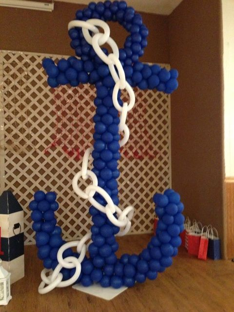 large anchor made of balloons for a nautical party