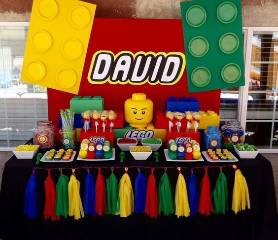 dessert table with bold candies and treats