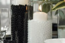 04 black and white beads for decorating simple candle holders