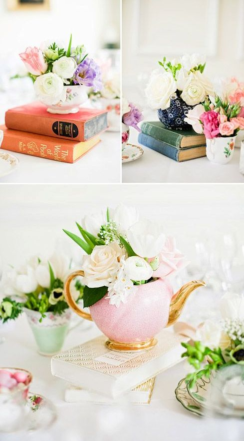 books and vintage tea pots make up wonderful centerpieces and decorations for such parties