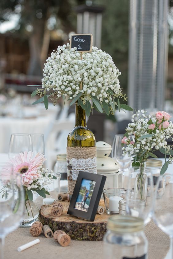 28 wine bottle centerpieces for every occasion shelterness for Wine bottle ideas for weddings