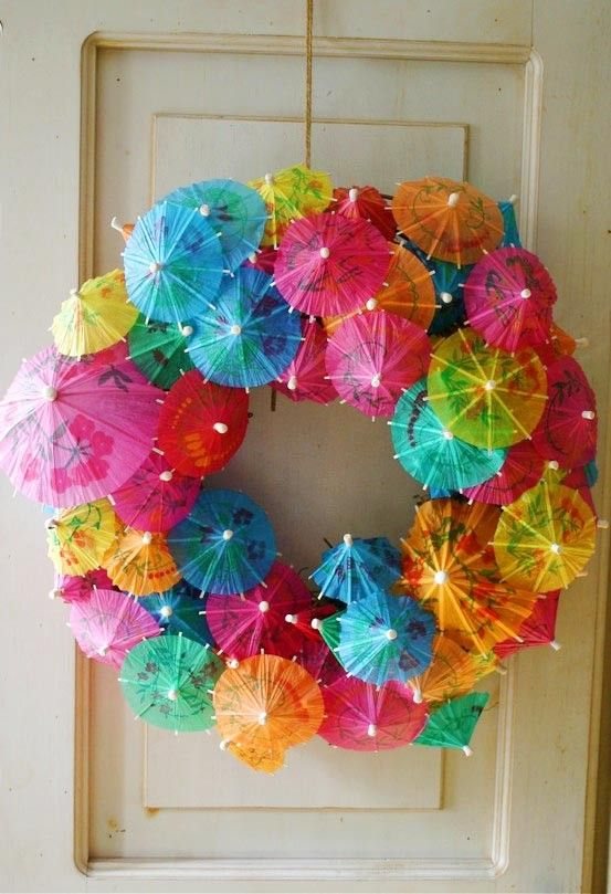 bold cocktail umbrella wreath