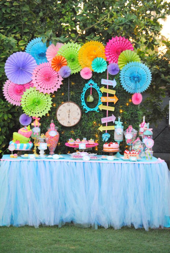 Bold Outdoor Alice In Wonderland Dessert Table