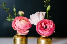 05 gilded bottle vases with bold flowers work as great decorations and centerpeices