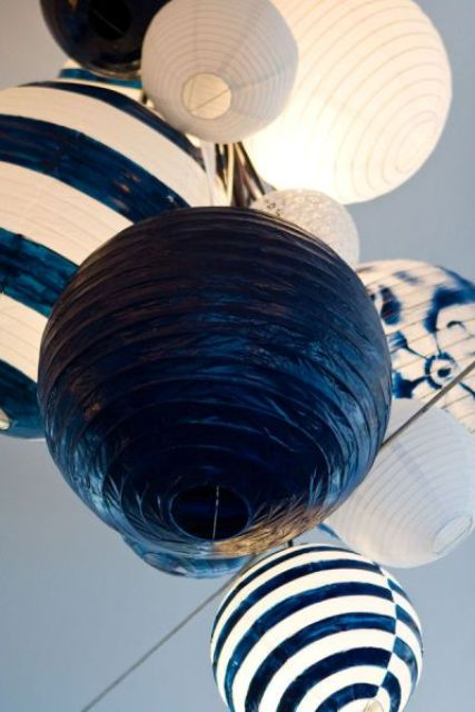 nautical paper lanterns in navy and white