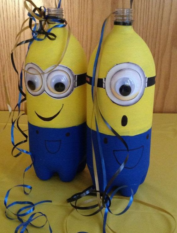 Despicable me centerpieces made of usual plastic bottles