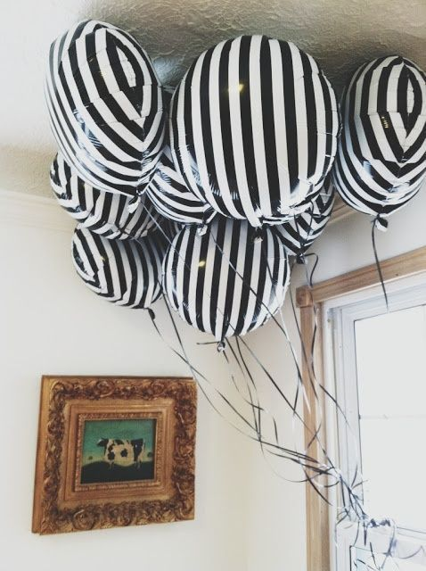 black and white stripe balloons for party decor