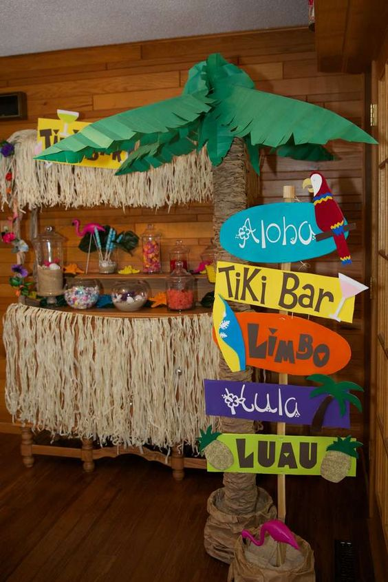candy table for a luau party