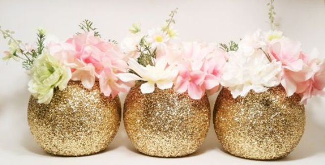 glitter round vases for glam party decor