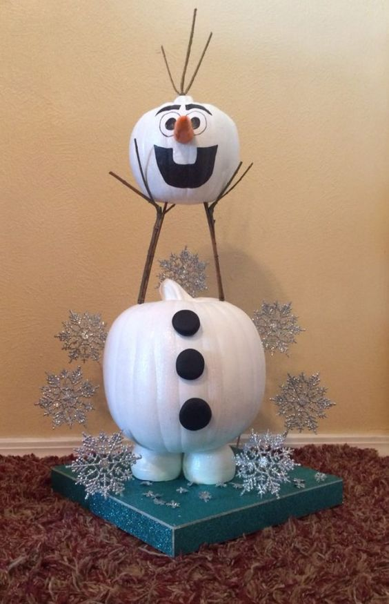make Olaf from large pumpkins