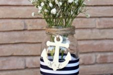 07 make an easy nautical centerpiece of a mason jar, twine, nautical ribbon and an anchor