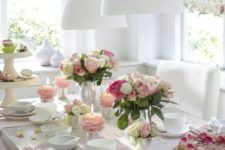 07 modern girlish tea party table decor with pink touches and a rose petal cake