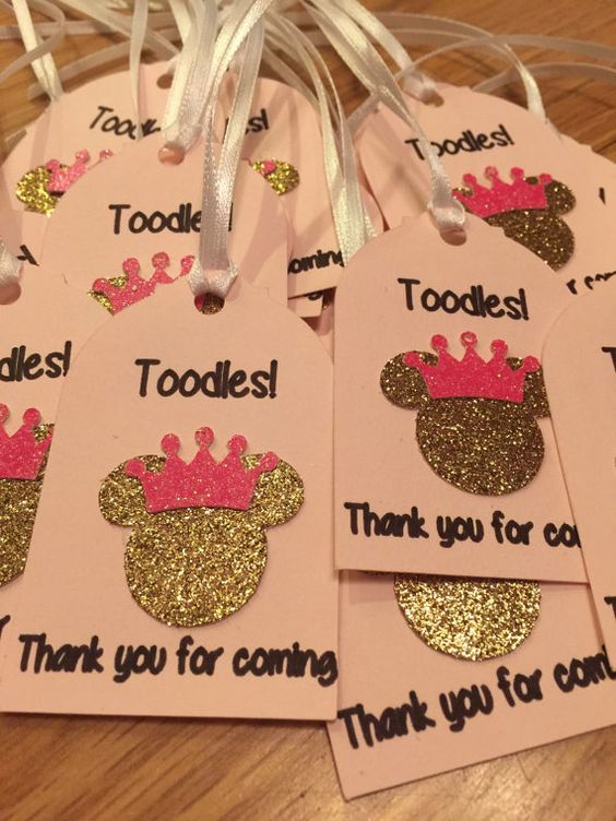 glitter Minnie Mouse favor tags