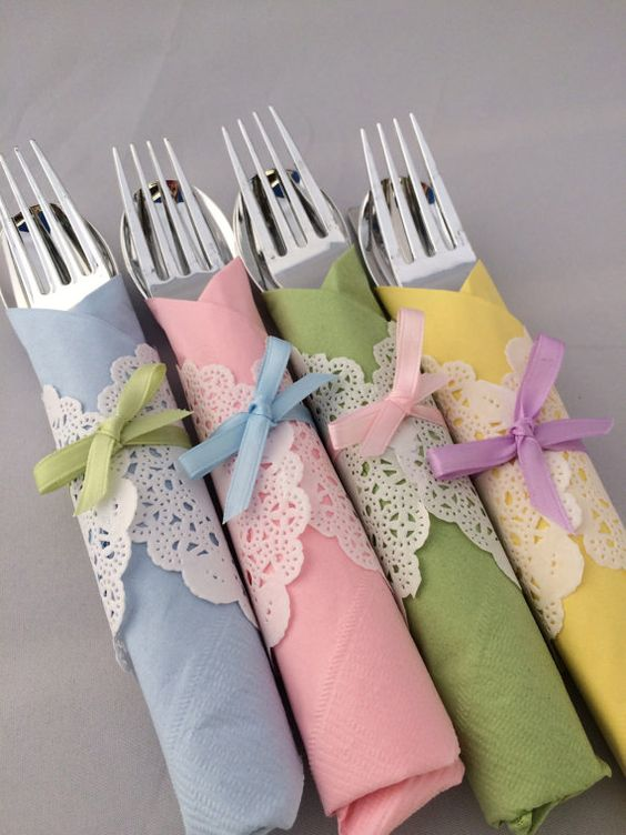 paste utensils wraps with bows