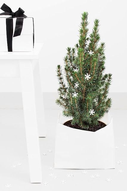 fir tree decorated with a couple of white clay snowflakes potted in a white planter
