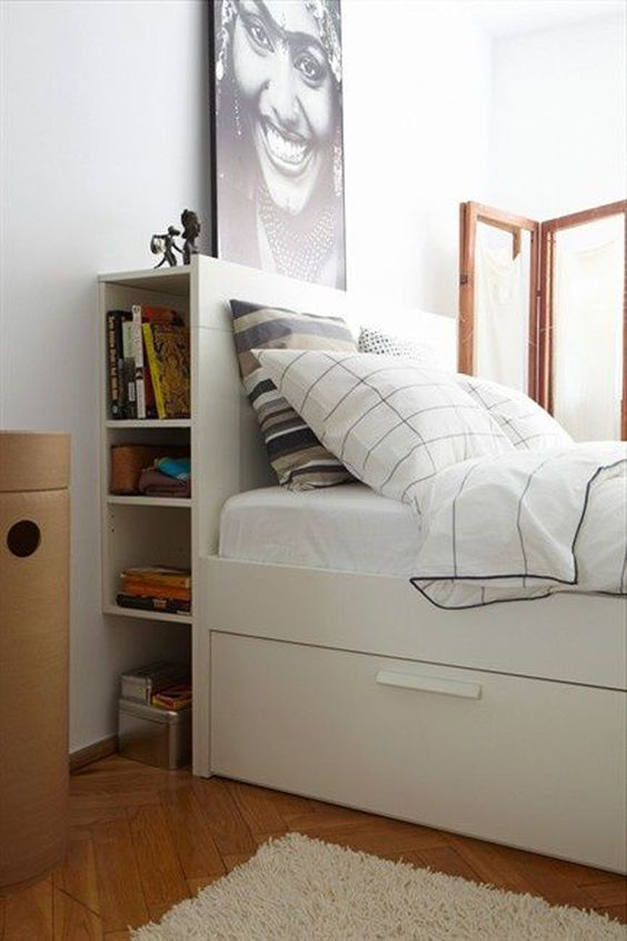 Picture Of Open Headboard Storage And Under The Bed Drawers