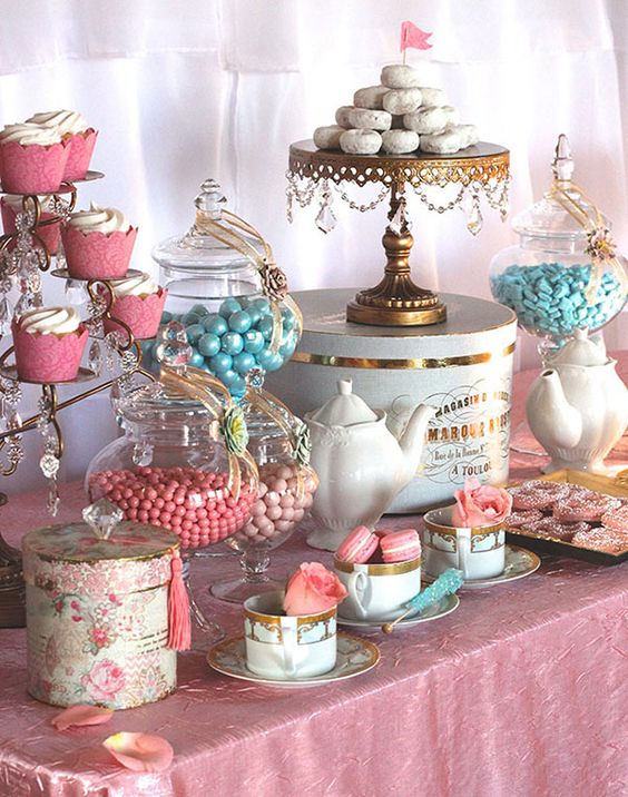pink and blue dessert table