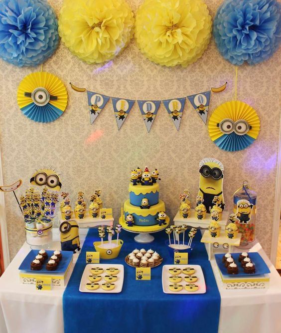 10 Despicable Me dessert table with cool stylized decor