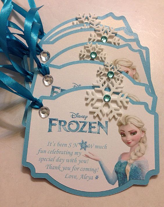 Frozen theme tags for some goodie bags