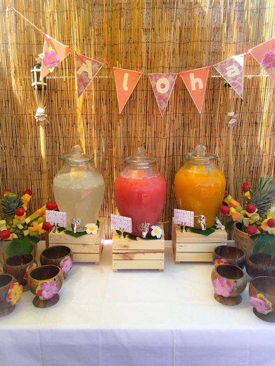 drink bar with a bamboo backdrop to create a mood
