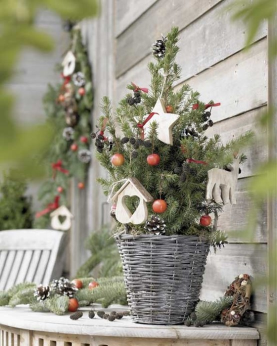 for Scandinavian style place your tree into a oven basket, add some pinecones, berries and a couple of ornaments