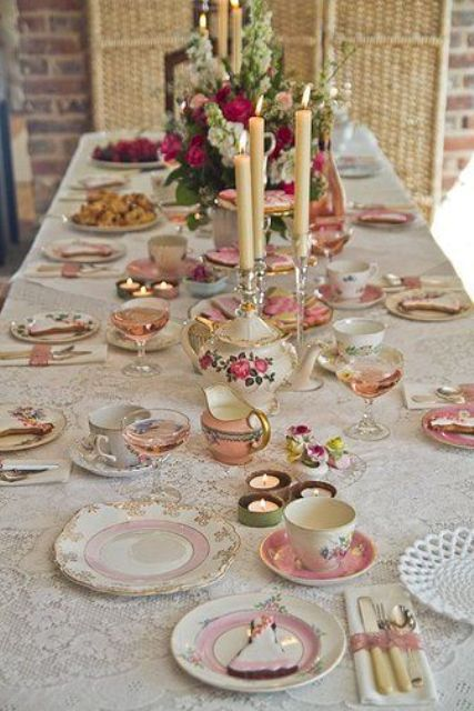 30 vintage tea party decor and treats ideas shelterness. Black Bedroom Furniture Sets. Home Design Ideas