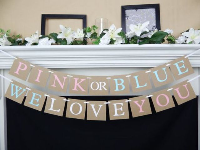 simple bunting for a gender reveal party