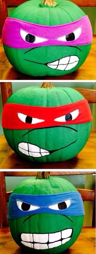 turn usual pumpkins into ninja turtles