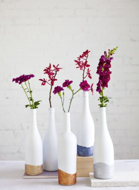 color block glitter vases with bold flowers