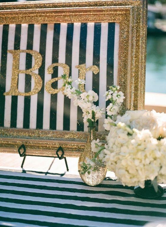 gold glitter framed sign