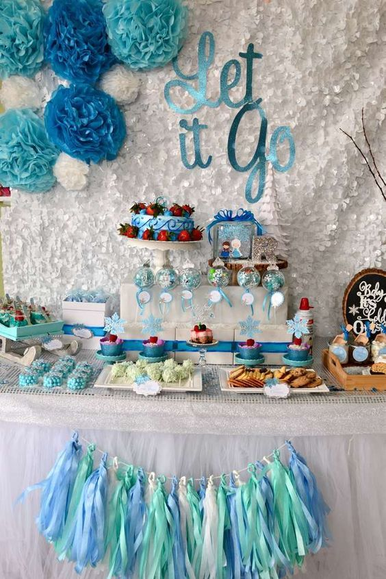gorgeous dessert table at a Frozen birthday party