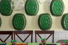 11 ninja turtle table setting and wall decor