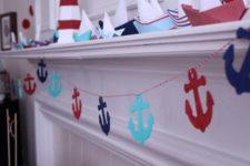 11 sailboats and anchor garland for nautical decor