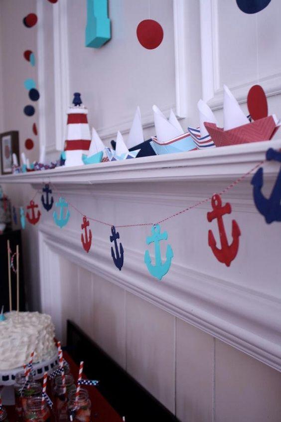 sailboats and anchor garland for nautical decor