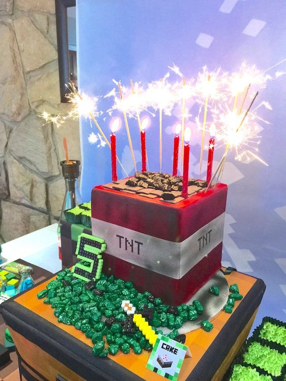 cake with sparkler candles from a Minecraft birthday party