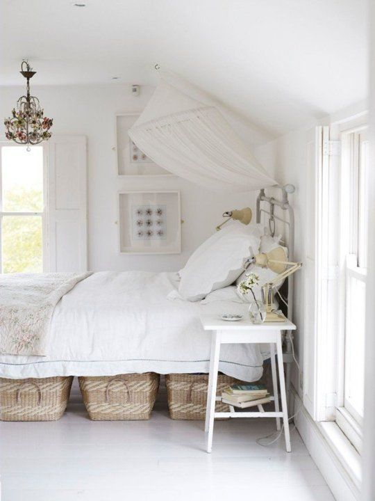 if there's enough space under th ebed, place some cubbies or baskets under it
