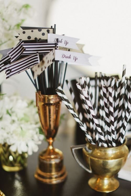 striped straws and drink stirrers