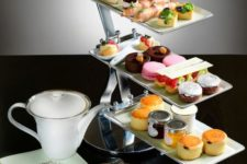12 use a usual metallic dessert stand placing different individual desserts
