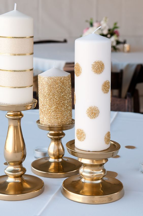 use glue dots and add glitter to Ikea candles, spray paint Ikea candle holders
