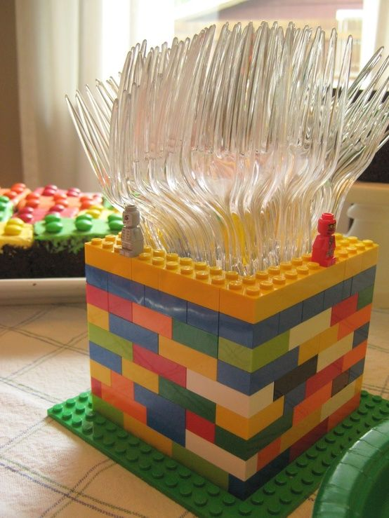 use real lego pieces for makign decor or ask your kids to make such a spoon holder