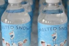 12 water bottled with 'melted snow' labels are easy to make yourself