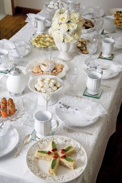 white Christmas tea table decor