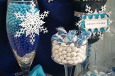 13 blue and white candy at a Frozen birthday party