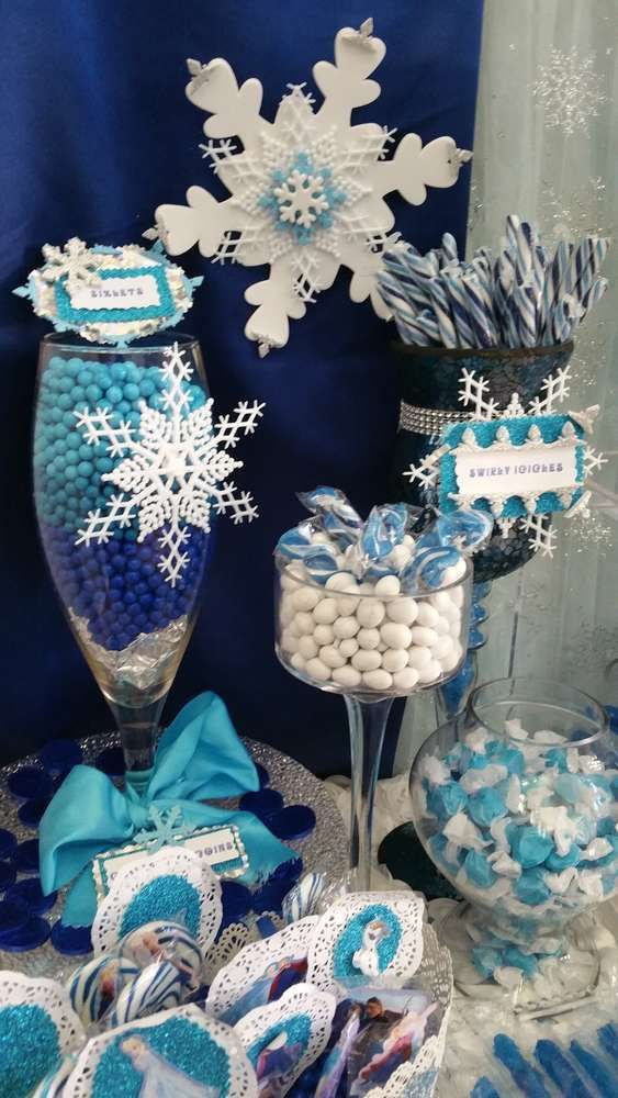 blue and white candy at a Frozen birthday party