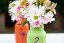 13 flamingo mason jars for flower centerpieces