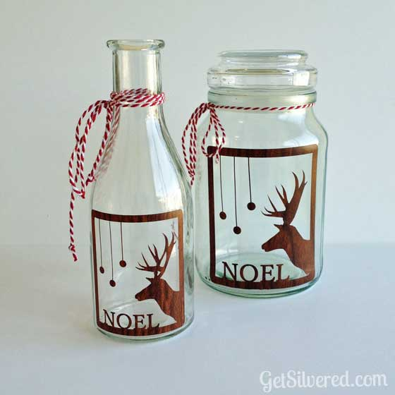 DIY reindeer decal jar lantern (via www.getsilvered.com)