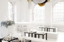 14 monochrome space with paper decorations hanging from the ceiling