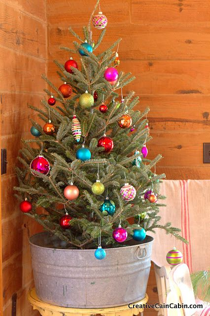 small tree in a galvanized bath tub, colorful ornaments